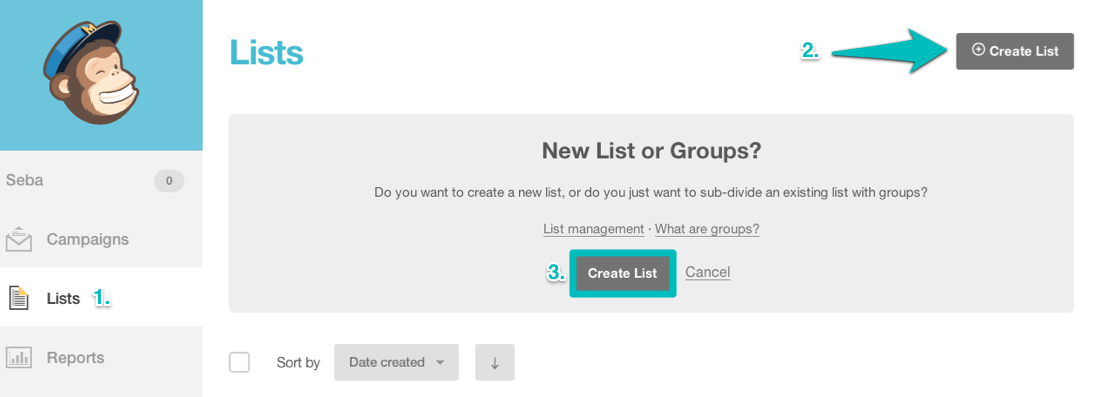 Create a list in Mailchimp